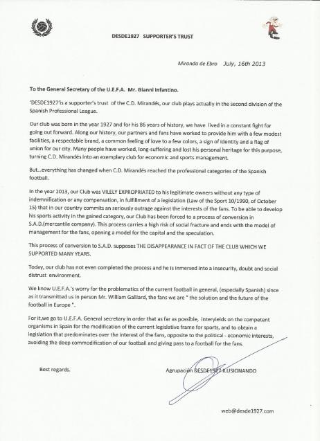 Carta en Ingles